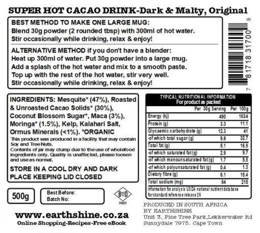 Super Hot Cacao Drink - Dark & Malty, Original - 500g Glass Jar LAUNCH  SPECIAL!