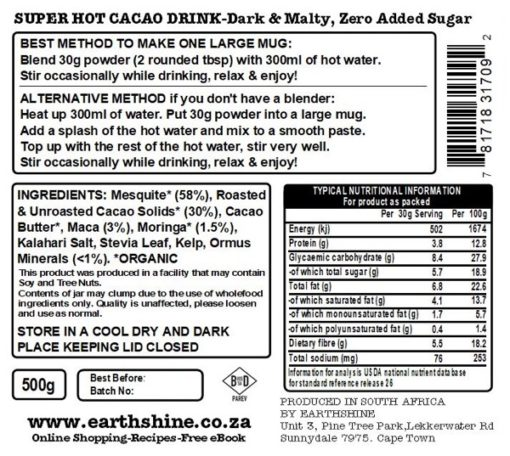 Super Hot Cacao Drink - Dark & Malty, Zero Added Sugar - 500g Glass Jar  LAUNCH SPECIAL!